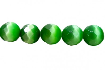 Grass Green Fiber Optic (Cat's Eye) Faceted Round Beads
