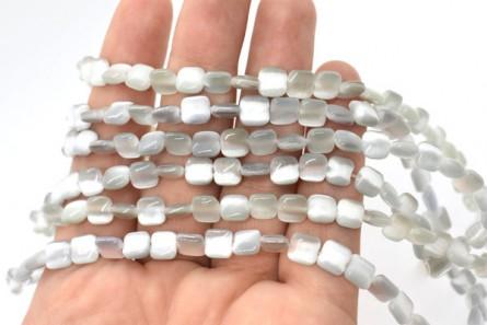 Grey Fiber Optic (Cat's Eye) Glass Beads Pillow/Square