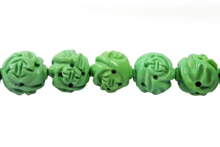 Green Turquoise (Dyed/Stabilized) Carved Round Gemstone Beads