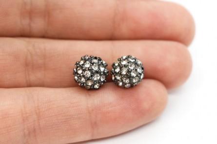 Beadelle® Crystal / Gunmetal Plate Crystal Pave Round Bead - Big Hole