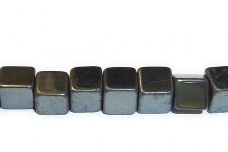 Hematite (Natural) A Grade Big Hole Cube gemstone Beads