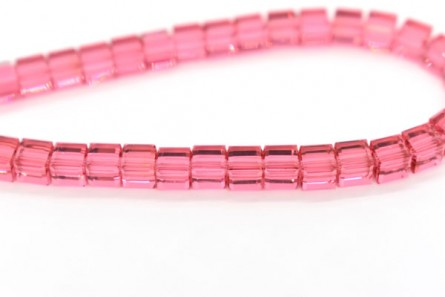 Indian Pink Swarovski Crystal Cube Beads 5601
