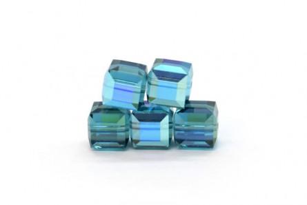 Indicolite AB Swarovski Crystal Cube Beads 5601