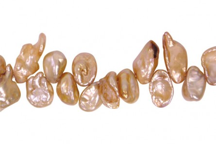 Keshi / Top Drilled Petal / Stick Freshwater Pearl - Orange, Light, Peach, ( Dyed  ) - 7x10mm-6x16mm
