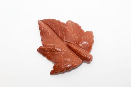 Brown Goldstone (Man Made) Carved Leaf, Half Drilled, Stone - 59mm x 48mm