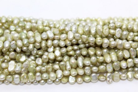 Irregular Potato Pearls, Light Green, A Grade