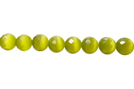 Chartreuse Green Fiber Optic Glass (Cat's Eye) Faceted Round Beads
