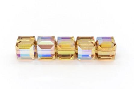 Light Colorado Topaz AB Swarovski Crystal Cube Beads 5601