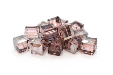 Light Rose Satin Swarovski Crystal Cube Beads 5601 4mm & 6mm - Sale