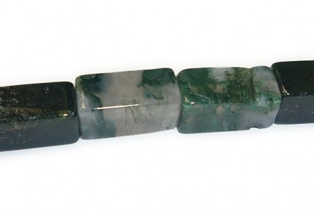 Moss Agate ( Natural ) A grade Big Hole Rectangle Gemstone Beads