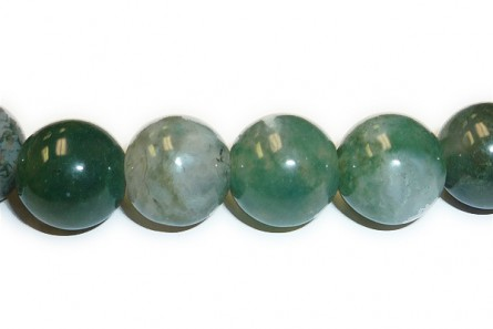 Moss Agate (Natural) A Grade Big Hole Round Gemstone Beads