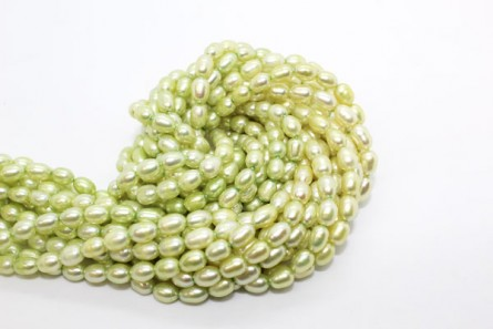 Rice Freshwater Pearls - Pastel Green - A Grade