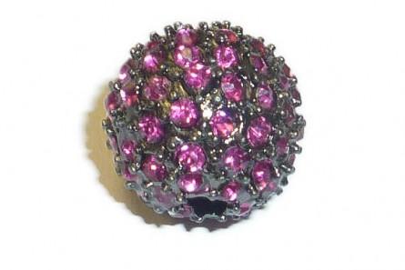 Beadelle® Fuchsia / Gunmetal Plate Crystal Pave Big Hole Bead Round