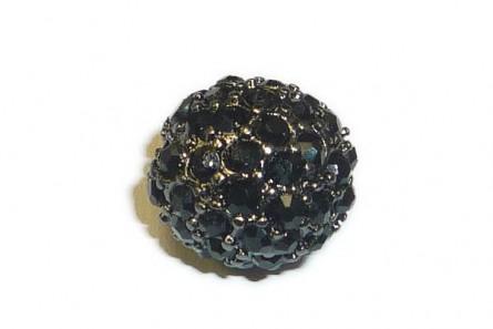 Jet & Gunmetal - Beadelle® Crystal Pave Big Hole Round Beads