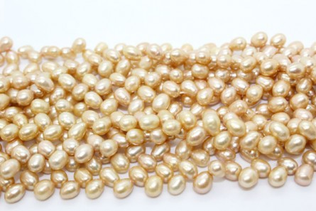 Herringbone Drilled Rice Freshwater Pearls - Champagne - A Grade