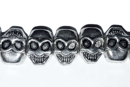 Pewter Skull Beads, Side Drilled, 11x8mm
