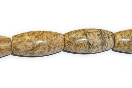 Picture Jasper (Natural) Oval/Rice Gemstone Beads - Large Hole (Sale)