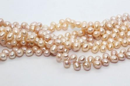 Herringbone Drilled Rice Freshwater Pearls - Peach ( Natural )  - A Grade
