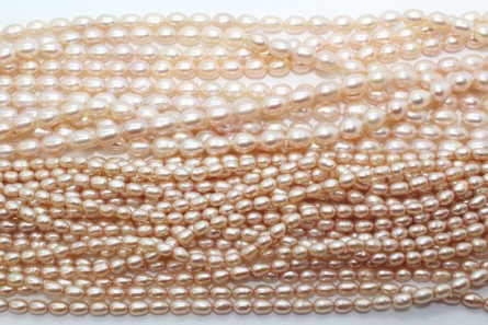 Rice Freshwater Pearls - Pink ( Natural ) - A Grade