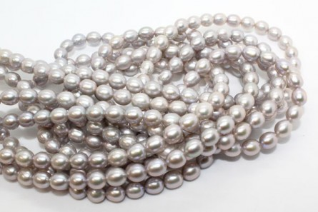 Rice Freshwater Pearls - Platinum - A Grade - 7x8mm