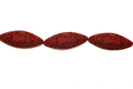 Red Cinnabar ( Imitation ) Horse Eye - Rice Oval Carved Beads - CR-30