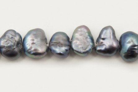 Irregular Potato Freshwater Pearls, Blue Peacock, A Grade