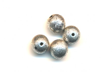 Sterling Silver Brushed Round Beads  (Oxidized ) 6mm & 8mm