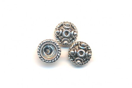 Sterling Silver Bali Style Bead Cap - 8mm