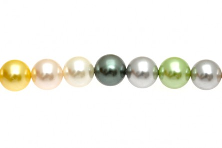 Mother of Pearl, Pearlized shell, Coated, Round Beads, 16mm,Multi,1D