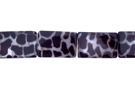 Shell, Brown, Leopard Print, Assembled, Rectangle Beads