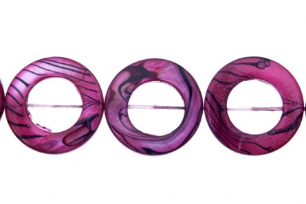Mother Of Pearl Shell,Dyed, 20mm Round Donut, Pink Dark