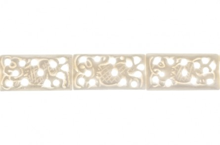 White Bone (Bleached) Carved Flat Rectangle Beads