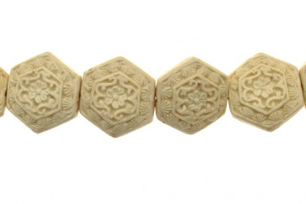 White Cinnabar ( Imitation ) 6 Sided Carved Bead - CW-03