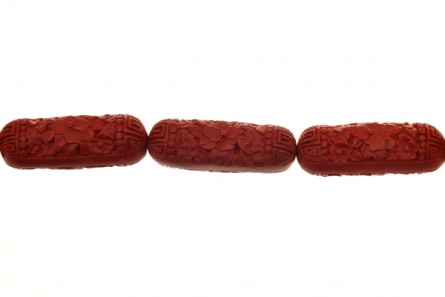 Red Cinnabar ( Imitation ) Tube - Rounded / Floral design Beads - CR-03