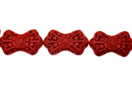 Red Cinnabar ( Imitation ) Bowtie Beads - CR-10