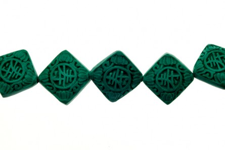 Green Cinnabar ( Imitation ) Beads - Square Diagonally Drilled - CG-09