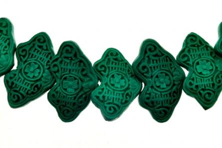Green Cinnabar ( Imitation ) Beads - Wave Shape - CG-13