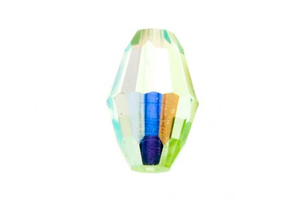 Bead, Chrysolite AB, Swarovski crystal,9x6mm faceted oval Barrel (5200).