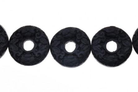 Black Cinnabar ( Imitation ) Beads - Donut / Bead Frame - CB-11