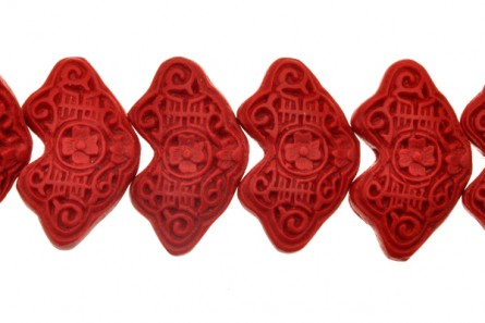 Red Cinnabar ( Imitation ) Wave Shape Carved Beads - CR-21