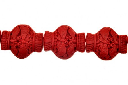 Red Cinnabar ( Imitation ) Vase Carved Beads - CR-22