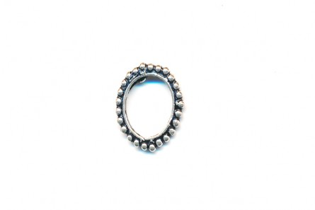 Sterling Silver Oxidized Bali style 14mm Ring - Beaded Dots