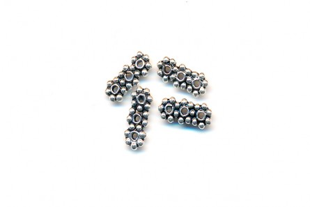 Sterling Silver Bali Style 3 Strand Daisy Spacer Bead 10mm x 4mm - BA128