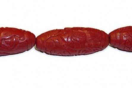 Red Cinnabar ( Imitation ) Rice Oval Carved Beads - CR-32