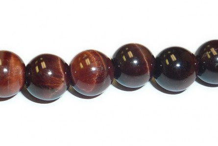 Red Tiger's Eye (Natural) Smooth Round Gemstone Beads - Large Hole (Sale)