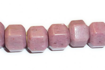 Rhodonite (Natural) Six Sided Drum Gemstone Beads - Large Hole (Sale)