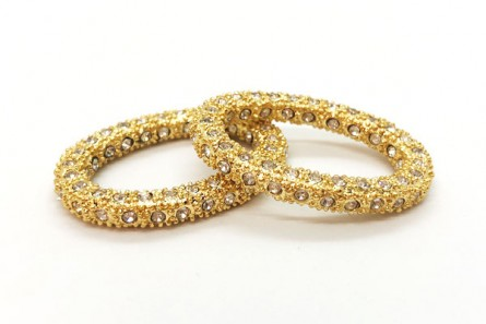 Beadelle® Crystal Pave Oval Ring - Gold Plate
