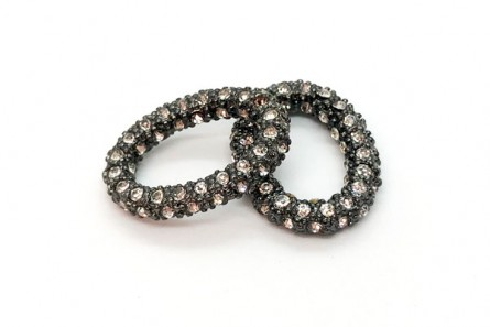 Beadelle® Crystal Pave Oval Ring - Gunmetal