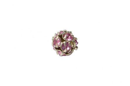 Rose /Silver Plate Swarovski Crystal Rhinestone Prong Set Pave Round Bead - 8mm