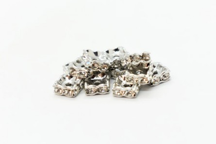 Rhodium Plated Brass / Crystal Swarovski Crystal Rhinestone Squaredelle Spacer Bead